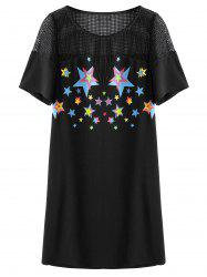 Crochet Panel Star Print Plus Size Dress