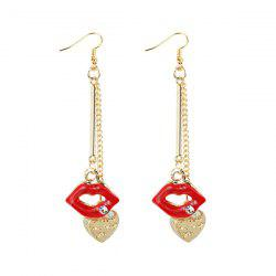 Engraved Rhinestone Lips Heart Chain Earrings