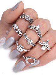 Moon Sun Floral Elephant Ring Set