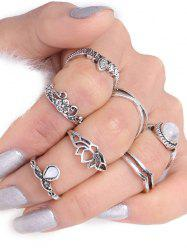 Flower Leaf Teardrop Finger Gypsy Ring Set -