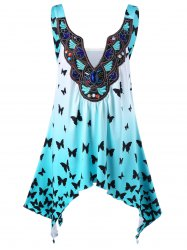 Split-Neck Butterfly Asymmetrical Ombre Tank Top - LIGHT BLUE