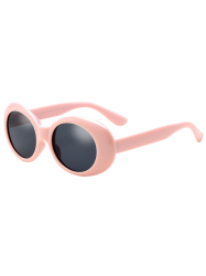 Anti UV Oval Retro Wrap Frame Sunglasses - PINK