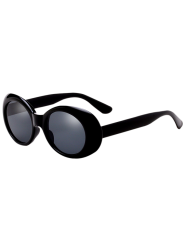 Anti UV Oval Retro Wrap Frame Sunglasses - BLACK