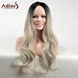 Adiors Long Gradient Centre Parting Wavy Dark Root Synthetic Wig