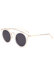 Metal Crossbar Cat Eye Mirrored Sunglasses