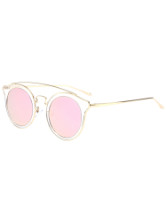 Cat Eye Mirror Cambered Metal Crossbar Sunglasses