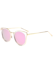 Metallic Frame Wrap Cat Eye Mirrored Sunglasses