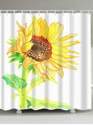 Extra Long Watercolor Sunflower Shower Curtain