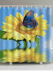 Extra Long Sunflower Butterfly Shower Curtain