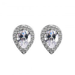 Water Drop Faux Crystal Rhinestone Stud Earrings - WHITE
