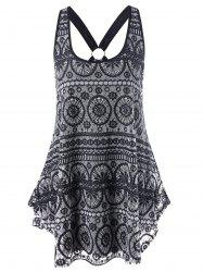 Racerback Lace Asymmetric Tank Top - BLACK
