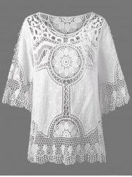 See Through Lace Crochet Top Cover Up - WHITE