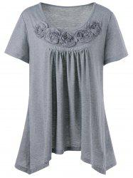 Plus Size Ribbons Embellished Swing T-Shirt