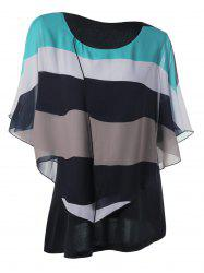 Butterfly Sleeve Chiffon Plus Size Stripe Top
