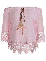 Floral Lace Panel Blouse with Feather -
