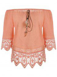 Floral Lace Panel Blouse with Feather