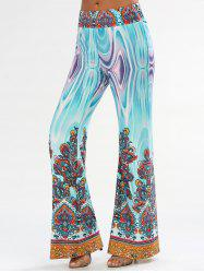 Arab Print Flowy Wide Leg Pants - Multicolore