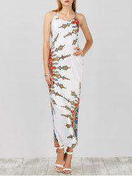 Long Satin Print Criss Cross Slip Cocktail Dress