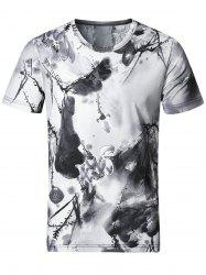 Stretchy Wash Painting Print Smooth T-Shirt