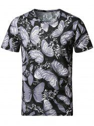 3D Butterfly Print Smooth Stretchy T-Shirt