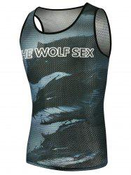Graphic Wolf Print Mesh Tank Top - COLORMIX