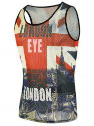 Graphic Building 3D Print Mesh Tank Top