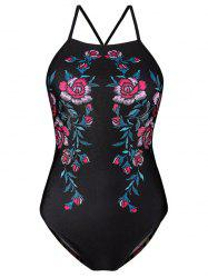 High Neck Floral Cross Back Swimwear