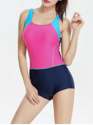 Backless Color Block One Piece Swimwear