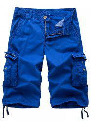 Drawstring Zip Up Pockets Cargo Shorts - ROYAL