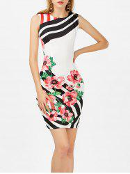 Floral Stripe Bodycon Dress
