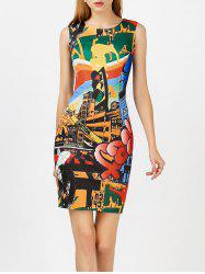 Colorful Printed Bodycon Sleeveless Dress