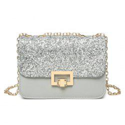 Sequin Metal Detial Crossbody Bag -