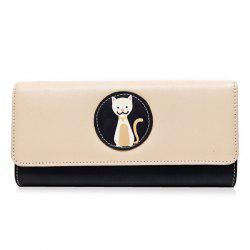 Tri Fold Cartoon Cat Color Block Wallet