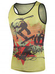 Printed Hip Pop Mesh Tank Top