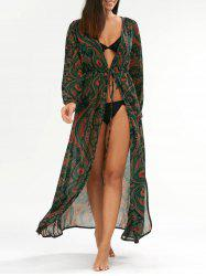 Paisley Drawstring Long Floral Kimono Cover Up