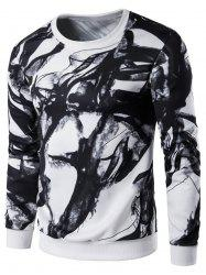 Long Sleeve Wash Painting Print Sweatshirt