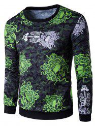 Long Sleeve 3D Snake and Skull Print Sweatshirt