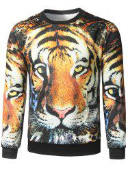 Tiger Face Print Crew Neck Sweatshirt
