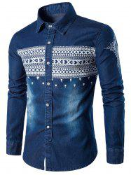 Tribal Print Long Sleeve Denim Shirt
