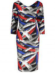 Print Knee Length Plus Size Dress