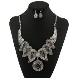 Rhinestone Circle Angel Wings Jewelry Set