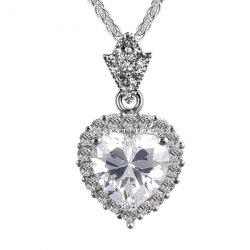 Artificial Diamond Gemstone Heart Pendant Necklace