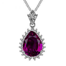 Artificial Crystal Gem Teardrop Pendant Necklace