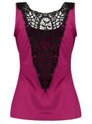 Lace Insert Tank Top with Buttons