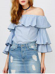 Ruffle Stripe Off The Shoulder Top -