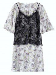 Chiffon Floral Plus Size Dress With Camisole