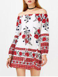 Floral Long Sleeve Off Shoulder Tunic Dress