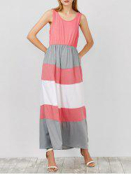 Maxi Sleeveless High Waist Contrast Striped Dress