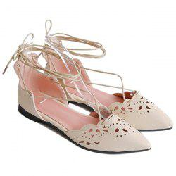 Tie Up Hollow Out Flat Shoes