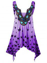 Plus Size Ombre Butterfly Asymmetric Tank Top